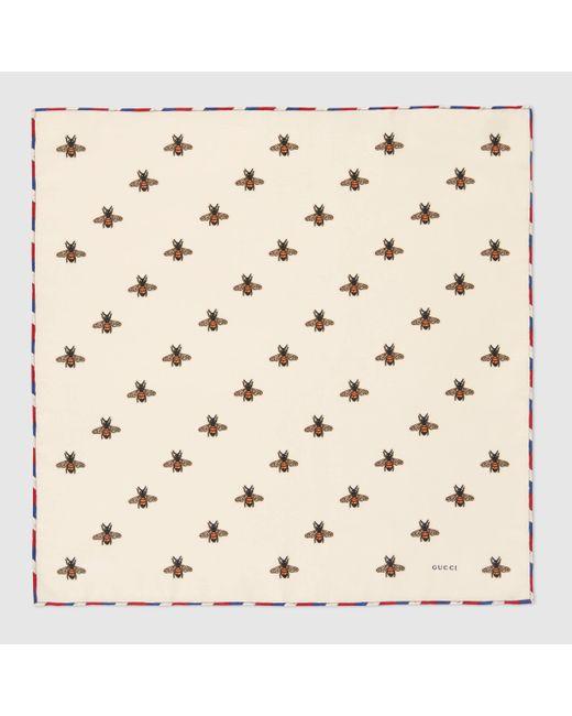 メンズ Gucci 【公式】 (グッチ)ビー(ハチ) プリント シルク ポケット スカーフ アイボリー シルク ホワイト White