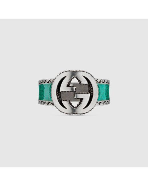 メンズ Gucci 【公式】 (グッチ)インターロッキングg リングターコイズ エナメル&シルバーundefined Multicolor