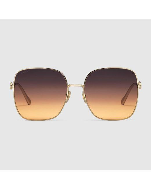 Gucci 【公式】 (グッチ)スクエアフレーム サングラスゴールド&マルチカラーゴールド Multicolor