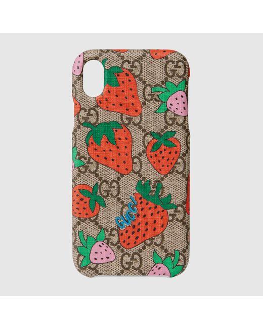 Gucci ストロベリー(いちご) Iphone Xr ケース Natural