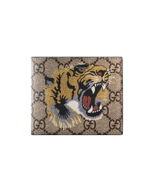 Gucci Natural Tiger Print Gg Supreme Wallet for men