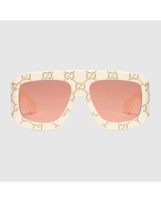 Gucci 【公式】 (グッチ)GG スクエアフレーム サングラスアイボリー アセテートホワイト Multicolor