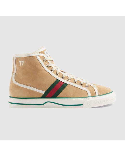 メンズ Gucci 【公式】 (グッチ)〔グッチ テニス 1977〕メンズ ハイトップ スニーカーベージュ スエードベージュ Multicolor