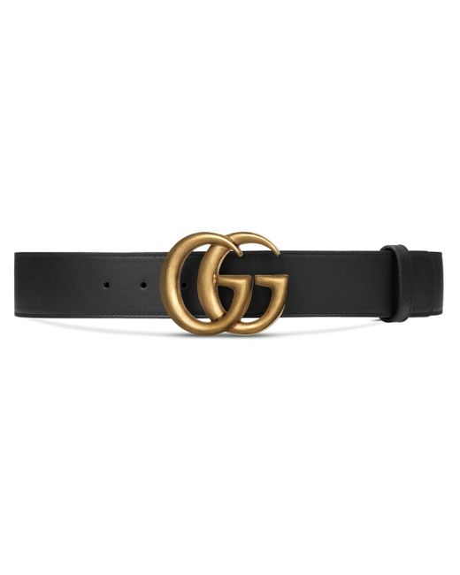 Gucci Black Wide Leather Belt With Double G Buckle