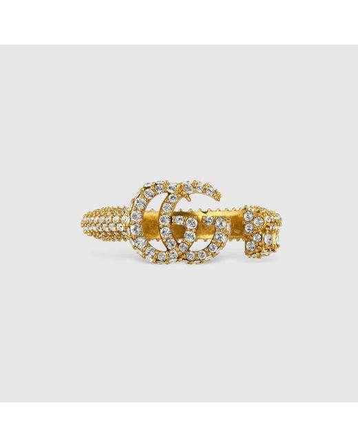 Gucci Metallic Doppel G Schlüsselring mit Kristallbesatz