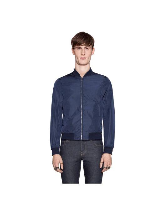 23623a8e5673d ... Gucci - Blue Reversible GG Jacquard Nylon Bomber Jacket for Men - Lyst