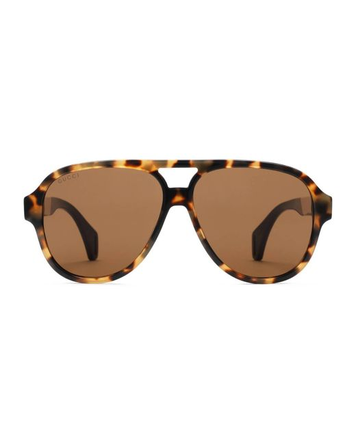 68fe394fc0b Gucci - Brown Aviator Sunglasses With Stripe for Men - Lyst ...