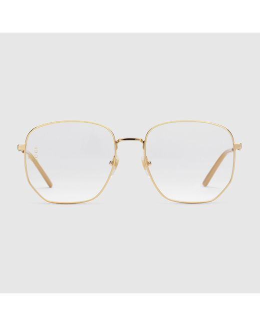 Gucci 【公式】 (グッチ)スクエアフレーム メタル サングラスシャイニーゴールド メタルゴールド Metallic