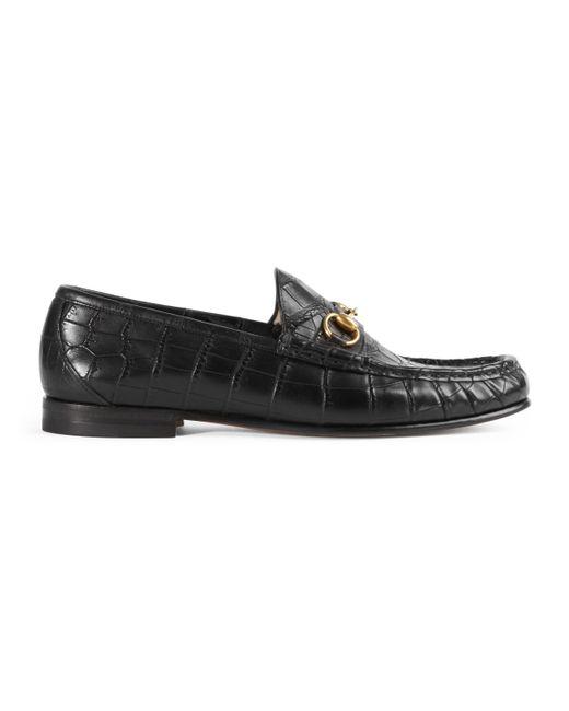 Mocasín 1953 Horsebit de cocodrilo Gucci de hombre de color Black