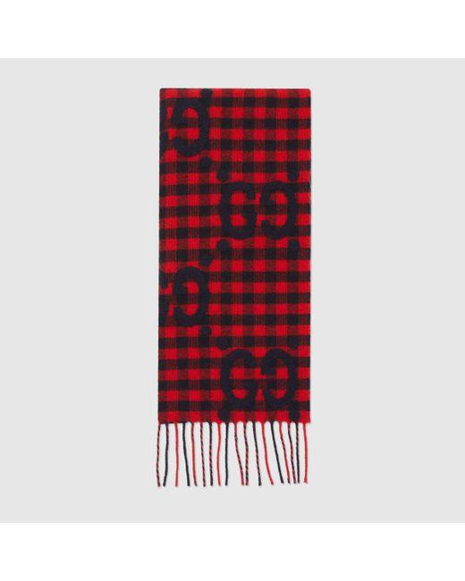 メンズ Gucci 【公式】 (グッチ)GG ウールジャカード スカーフレッド&ブルーレッド Red