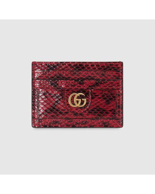 Gucci 〔オフィディア〕オンライン限定 スネークレザー カードケース Red
