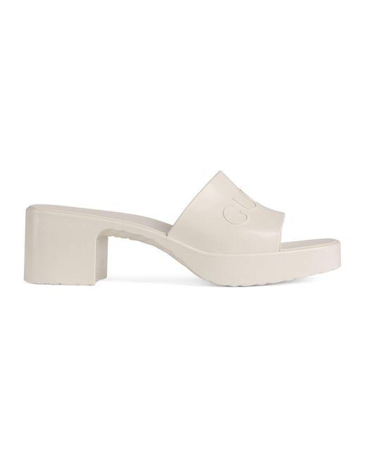 Gucci White Rubber Slide Sandals