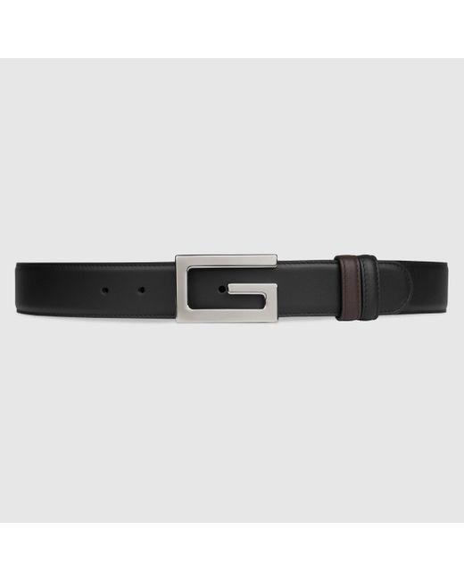 メンズ Gucci 【公式】 (グッチ)リバーシブル ベルト(スクエアg バックル) ブラック/ブラウン レザーブラック Black