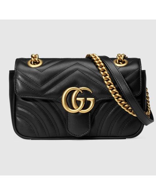 Gucci 【公式】 (グッチ)〔GGマーモント〕 キルティング ミニバッグブラック レザーブラック Black