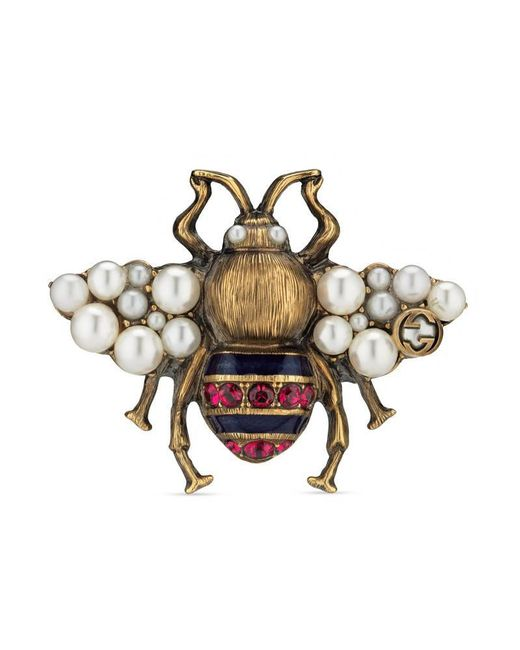 Gucci | Metallic Bee Ring With Crystals And Pearls | Lyst