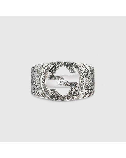 メンズ Gucci 【公式】 (グッチ)インターロッキングg リングスターリングシルバーundefined Metallic