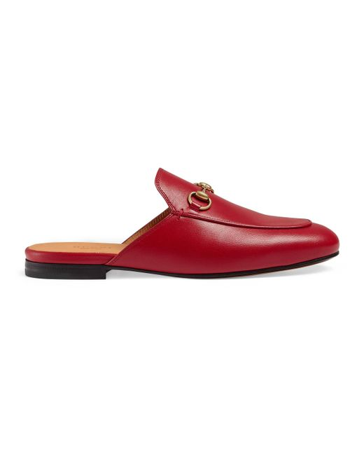 1ae3fb93ca17 Gucci Princetown Leather Slippers in Red - Save 11% - Lyst