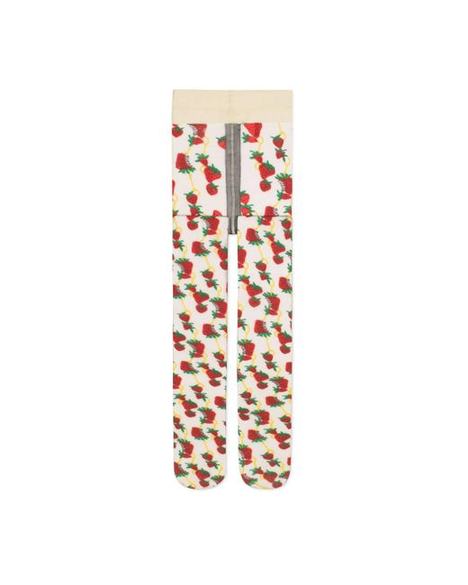 Gucci Multicolor Tights With Strawberry And Horsebit Print