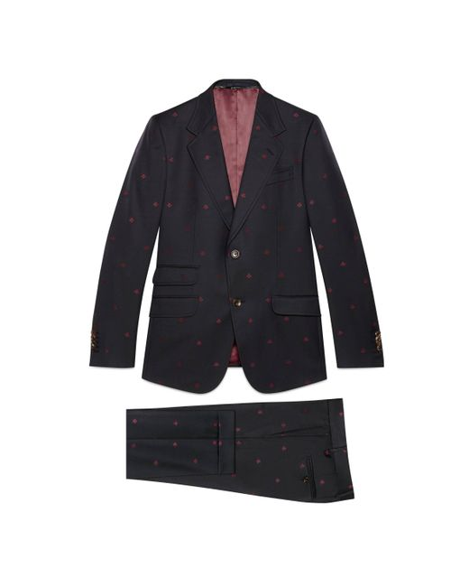 Gucci Blue Heritage Bees Wool Gabardine Suit for men