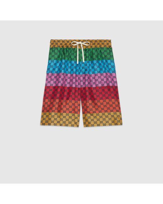 メンズ Gucci 【公式】 (グッチ)GG マルチカラー シルクツイル ショートパンツGG マルチカラーレッド Multicolor