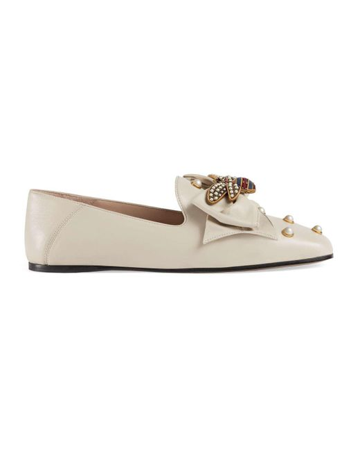 Gucci - White Leather Ballet Flat With Bow - Lyst