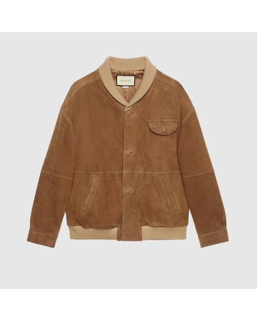 Gucci グッチスエード オーバーサイズ ボンバージャケット Brown