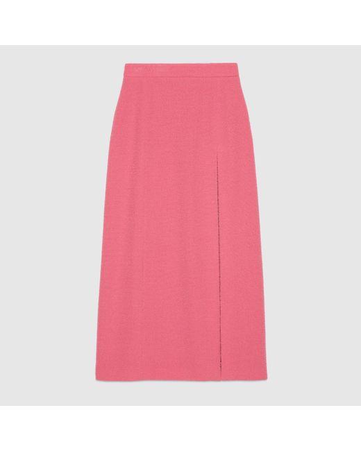 Gucci グッチスリット入り ウールツイード ミディスカート Pink