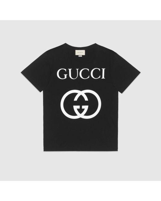 メンズ Gucci グッチインターロッキングg コットン オーバーサイズ Tシャツ Blue