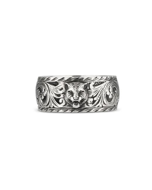 Gucci Metallic Thin Silver Ring With Feline Head for men