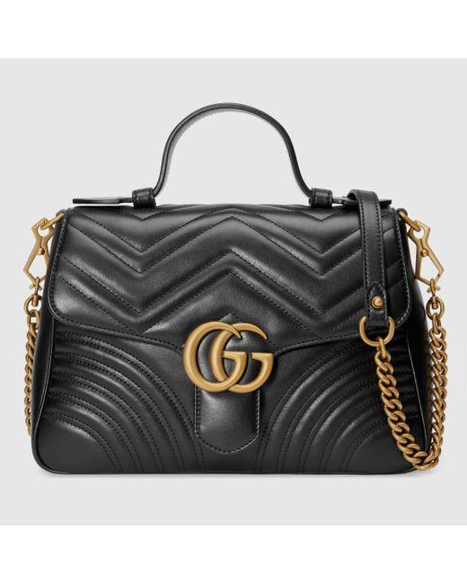 Gucci グッチ公式〔GGマーモント〕スモール トップハンドルバッグブラック レザーcolor_descriptionレザー Black
