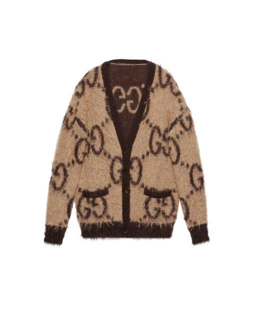 Gucci Natural Logo-intarsia Mohair-blend Cardigan