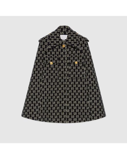 Gucci 【公式】 (グッチ)GGジャカード フェルトウール ケープブラックブラック Black