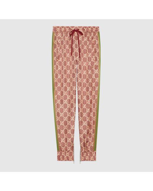 Gucci 【公式】 (グッチ)GGスプリーム プリント シルク パンツピンク&ベージュマルチカラ Multicolor