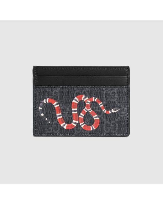 メンズ Gucci キングスネーク プリント GGスプリーム カードケース Black