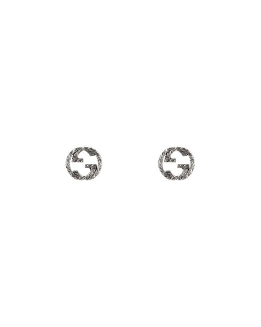 Gucci Metallic Interlocking G Earrings In Silver