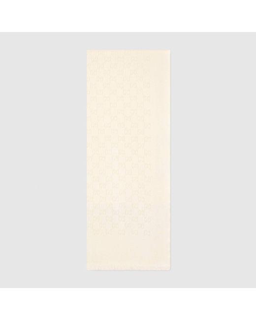 Gucci グッチGGジャカード カシミア スカーフ Natural