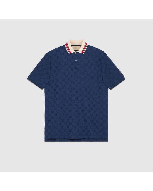 メンズ Gucci 【公式】 (グッチ)GG ストレッチコットン ポロシャツダークブルーブルー Blue