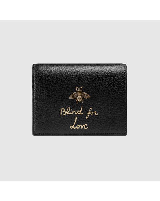 Gucci Black Animalier Card Case Wallet