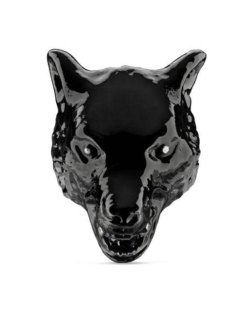 Anillo Anger Forest de Esmalte con Cabeza de Lobo Gucci de hombre de color Black