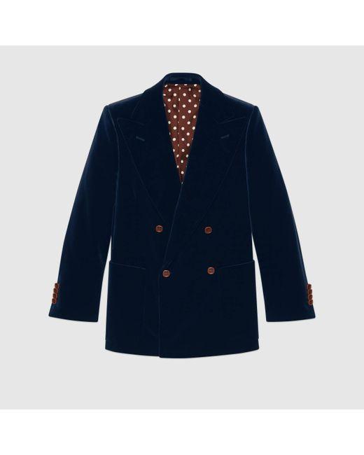 メンズ Gucci 【公式】 (グッチ)ベルベット ジャケットダークブルーブルー Blue