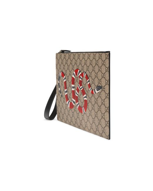 3e4bc56f32d456 ... Gucci - Natural GG Pouch With Kingsnake for Men - Lyst ...