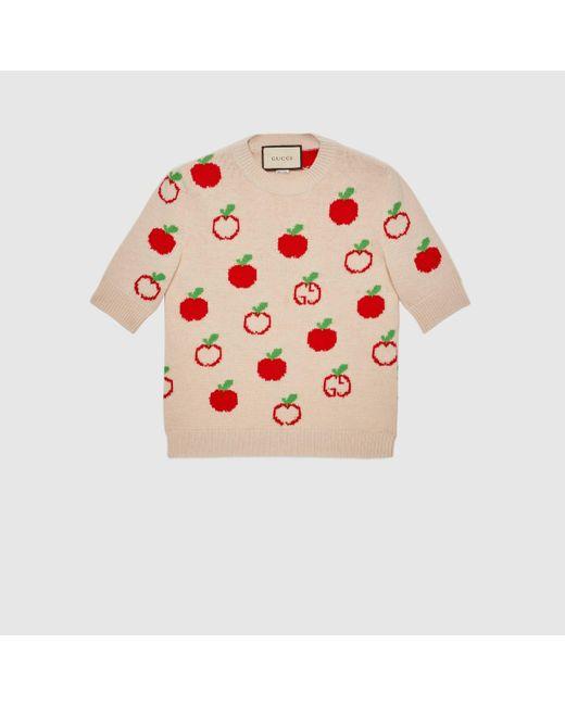 Gucci グッチGGアップル ウールジャカード トップ White