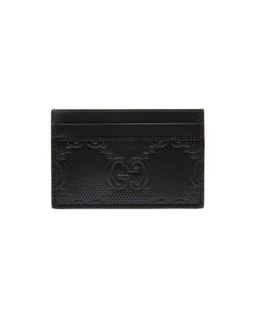 Gucci Black GG Embossed Card Case for men