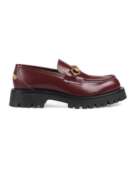 Gucci Red Loafers With Horsebit And Lug Sole for men