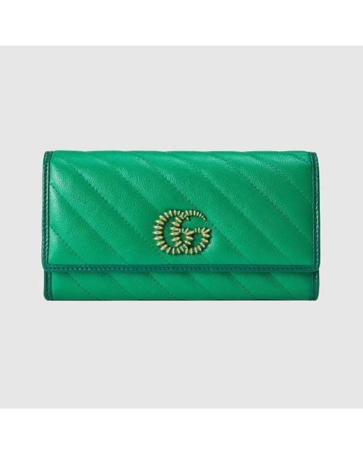 Gucci Green GG Marmont Continental Brieftasche