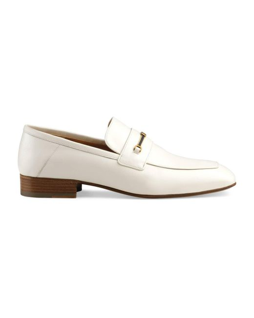 94a34187d71 ... Gucci - White Leather Loafer With Horsebit And Double G for Men - Lyst  ...