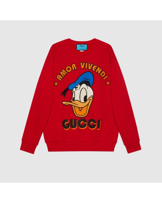Gucci グッチdisney(ディズニー)x ドナルドダック スウェットシャツ Red
