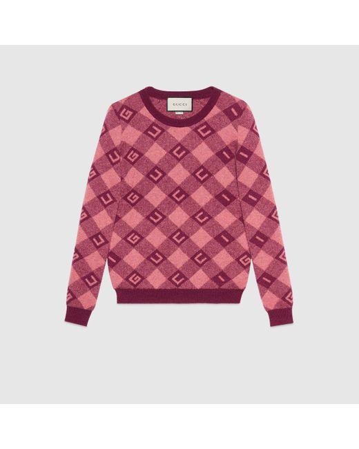 Gucci グッチ チェック ジャガード セーター Red