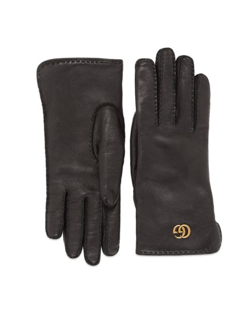 Gucci Black Leather Gloves With Double G