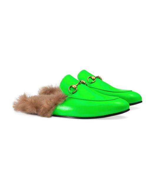 56e9b9d627d ... Gucci - Green Princetown Fluorescent Leather Slipper for Men - Lyst ...